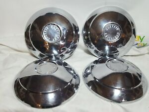 Vtg 1960 Chevy Corvair Chrome Dog Dish Hub Caps Set Of 4