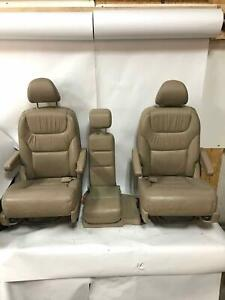 2005 Honda Odyssey 2nd Row Leather Captain Jump Seat Assembly Ivory Trim f b