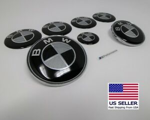 Bmw Set Of 7 Black Gray Carbon Fiber Look Emblem Decal Logo 3 Series E46 E90