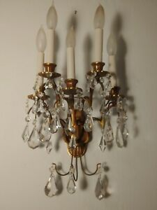 Antique Early American Brass 5 Light Wall Sconce