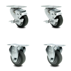 Thermoplastic Rubber Tp Caster Set Of 4 3 Wheels 2 W brakes