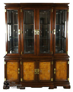Universal Furniture Mahogany Ashwood Asian Breakfront China Cabinet Chinoiserie