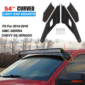 Roof Upper Rack Mounting Brackets For 14 16 Chevy Gmc 54 Curved Led Light Bar