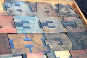 Antique Rare Alphabet 44pcs 5 20 Wood Printing Blocks Letterpress Wooden Type