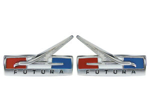 New 1965 Futura Fender Emblems Lh Rh Ornaments Nameplates Falcon Ford