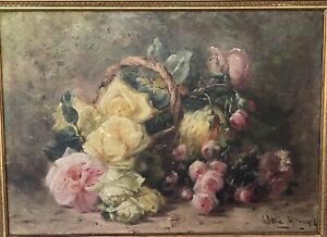 Antique French Painting Oil On Canvas Flower Basket By Elisa Georget