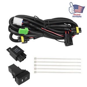 H11 Wiring Harness Fog Light Indicator Switch Drl Wire Relay For Honda Civic Crv