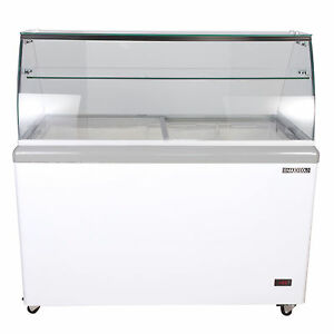 Maxx Cold 8 Tub Commercial Glass Top Sub Zero Ice Cream Dipping Cabinet Freezer