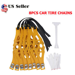 8pcs set Car Snow Ice Tire Chains Beef Tendon Vehicle Wheel Antiskid Tpu Chain