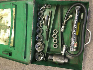 Greenlee 7646 Hydraulic Knockout Punch Set 1 2 2 Plus Extras Free Shippng