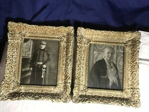 Vintage Antique Wooden Frames With Pictures Of European Soldier And Mother