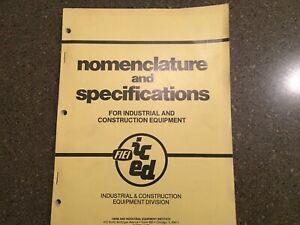 Nomenclature And Specifications For Industrial And Construction Equipment