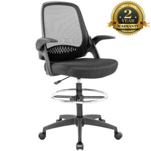 Ergonomic Mesh Computer Chair With Lumbar Support Flip up Arms Tall Office Chair