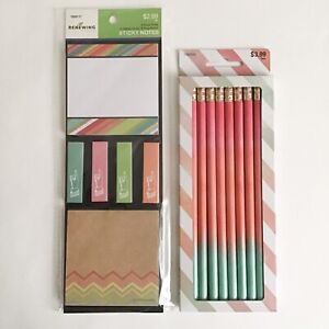 Pink Ombre 2 Lead Pencils 10 Count And Colorful Sticky Notes Set