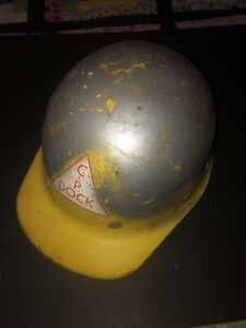 Vintage Superglas Fibre Metal Fiberglass Hard Hat Yellow Mine Usa Construction