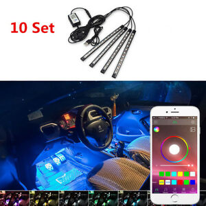 10pcs Rgb Led Car Auto Interior Neon Atmosphere Strip Light Music Remote Control