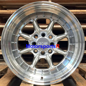 Xxr 002 5 Wheels 16x8 Et 0 Silver Rims Deep Dish Step Lip 4x114 3 Hellaflush