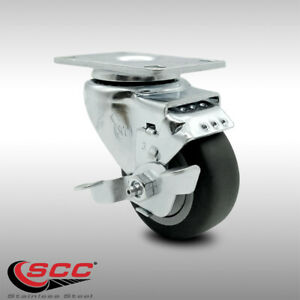 Ss Thermoplastic Rubber Swivel Top Plate Caster 3 Wheel Brake