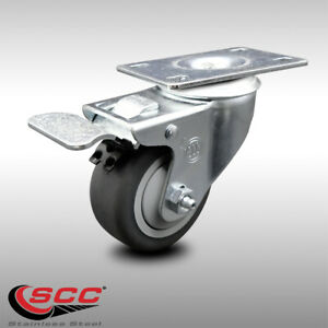 Ss Thermoplastic Rubber Swivel Top Plate Caster 3 Wheel Total Lock Brake