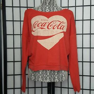 NWOT Coca Cola Red Cropped Off Shoulder Sweater Size Large Heart