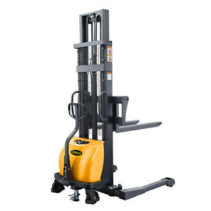 Semi electric Straddle Stacker 118 Lift 2200lbs With Adj Forks