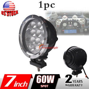 1x 7inch 60w Round Led Work Light Spot Driving Fog Lamp For Offroad Truck Jeep