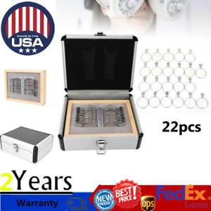 22 Pcs Optical Trial Lens Set Optometry Kit Metal Rim Aluminium Box 38mm Dia
