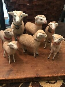 Lot Of Early Old German Wooly Sheep Putz Christmas Nativity Easter 7 Items