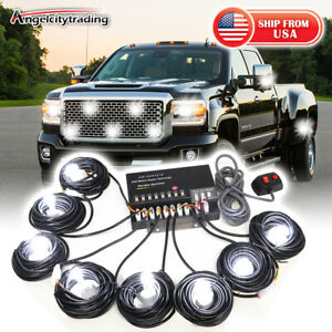 Hide a way 160w 8 White Hid Bulbs Emergency Strobe Light Headlight Kit System
