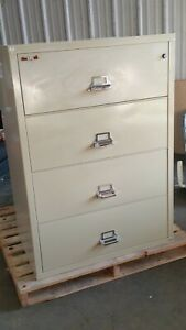 Fire King Fire proo 4dr Lateral File Cabinet W lock Key 1hr 37 wx22 dx53h