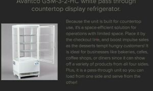 3 0 Cu ft C Refrigerator Display White Glass Sided Pass through Countertop