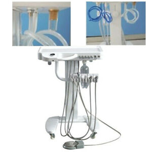 Dental Lab Portable 4 hole Delivery Mobile Cart Unit weak Suction 3 way Syring