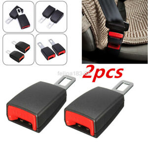2x Black Universal Car Tucker Clip In Safety Seat Belt Buckle Extension Extender