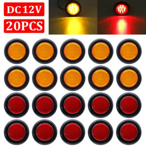 20x 2 Inch Round Red Amber Side Marker Clearance Led Trailer Truck Lights 12v