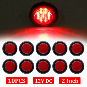 10x 2 Inch Red Led Round Side Marker Led Clearance Tail Light 12v Truck Trailer