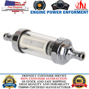 Universal Chrome Glass Washable Fuel Petrol Diesel Inline Filter 8mm 5 16 9747