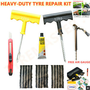 Aa Motorcycle Car Van Tubeless Tyre Puncture Repair Kit Tire Tool Plug Emergency