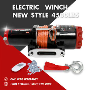 X bull Electric Winch 4500lbs 12v Synthetic Rope Towing Truck Atv Utv Off road