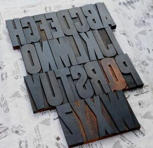 Giant A z Alphabet 7 09 Letterpress Wood Printing Blocks Type Abc Exceptional
