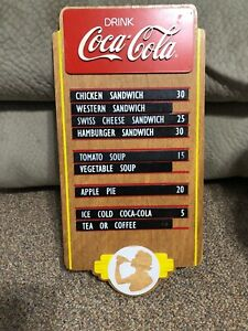 Coca Cola Wooden Menu Board 9 x 18 Inches Sunbelt