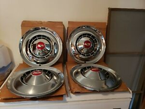 Set Of 4 Vintage Nos 1954 Chevy Bel Air 150 210 15 Hubcaps