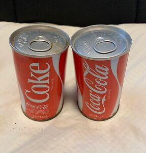 1970's vintage Coca-Cola Cans (2) Unopened, Full, with Pull Tab
