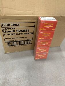 Staples 1 Size Paper Clips Smooth 100 box 525881 Case Of 250 Boxes