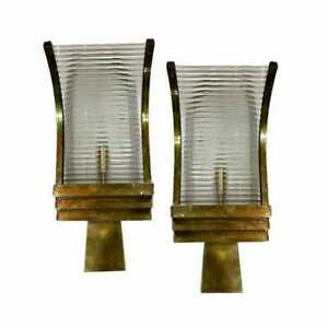 Pair Vintage Art Deco Skyscraper Brass Glass Rod Ship Light Wall Sconces Lamp