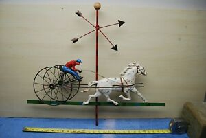 Vintage Sulky Race Horse Weather Vane Signed Curtis Jere 1982 Metal Wall Art