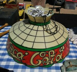 Vintage Coca Cola Plastic (Faux Stained Glass Look) Hanging Light