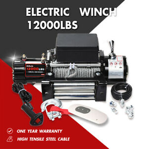 X Bull Electric Winch 12000lbs 12v Steel Cable Jeep Towing Truck Trailer 4 4 4wd