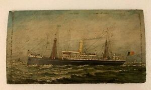 Antique Small Painting Italian Flag Ship Immigrants Single Stack Nice Bin