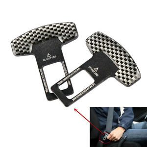 2pcs Carbon Fiber Car Safety Seat Belt Buckle Alarm Stopper Clip Clamp Ssk