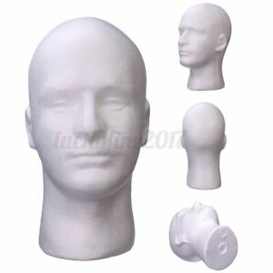 Male Mannequin Styrofoam Foam Manikin Head Model Glasses Wig Hat Display Stand